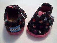 Toms Tiny Classics Baby Girl's Black Polka Dot T2 Pink Soles