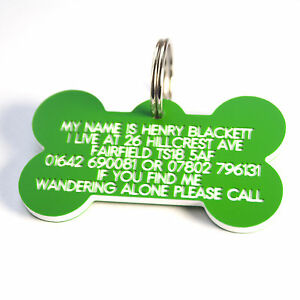 Engraved lightweight durable Plastic Dog ID Bone shaped 58 mm x 33mm 7 colours