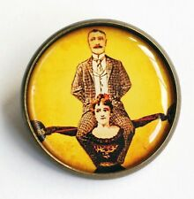 Strong Woman Brooch Pin Antique Bronze Jewellery Quirky Women Vintage Feminist
