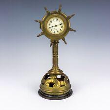 Antico Orologio Navi Ruota formata in ottone & legno tornito Stand-RARO!