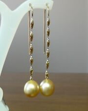 12.7mm!! SOUTH SEA GOLD PEARLS 100% UNTREATED +18ct SOLID YG EARRINGS +APPRAISAL