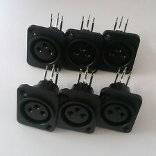 6Pcs XLR 3 Pin Panel Mount Female Chassis Socket Connector