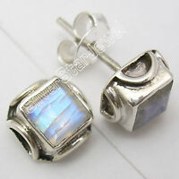 925 Solid Silver MOONSTONE Studs POST Earrings JEWELRY