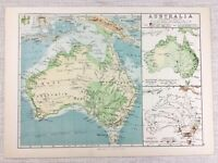 1894 Antique Map of Australia Vegetation Population Density Geology Minerals