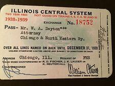 1938-39 Illinois Central Railroad Company railroad pass