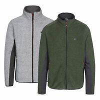 Trespass Templetonpeck Mens Fleece in Grey & Green Winter Warm