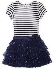 New Girls Rare Editions sz 4 Navy Stripe Sparkle Ruffle Dress Clothes Fall NWT