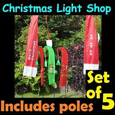 Set 5 Christmas Yard Flags Outdoor Garden Decoration RED GREEN Merry Xmas Signs
