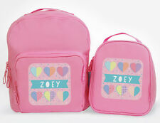 Bright Star Kids Personalised Matching Backpack and Lunch Bag - Love Hearts