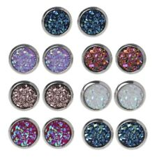 7 Pair 8mm Stainless Steel Shiny Austrian Crystal Round Stud Earrings For Kids