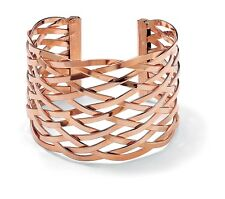 PalmBeach Jewelry Rose Gold-Plated Lattice Cuff Bracelet 7.5""