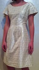 Couture LELA ROSE Silk Ivory Shimmer Silver Metallic Dress~Size 6~Beautiful!