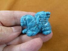 (Y-Lio-Ga-Wa-554) Blue Howlite Lion Gargoyle gemstone carving mythical statue