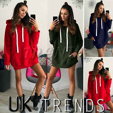 UK Womens Hooded Jumper Dress Long Sleeve Sweater Pullover Ladies Mini Size 6-14