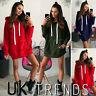 UK Womens Hooded Jumper Dress Long Sleeve Sweater Pullover Ladies Mini Size 6-14