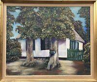 Alte weisse Kate hinter Laubbäumen Norddeutsches Bauernhaus Ölgemälde62,5 x 74