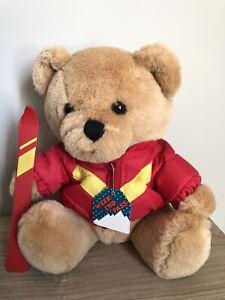 "Dakin Vintage 1987 Soft Plush Teddy Bear 10"" Brown With a Ski Outfit Skis Pass"