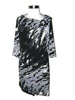 LIZ CLAIBORNE Plus Sz 16W Shift Dress Black Gray Beige 3/4th Sleeve Knee Length