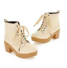 Retro Women's Wedge High Heel Lace Up Faux Leather Shoes Pump Ankle Boots Oxford