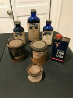 LOT OF 7 VINTAGE COLLECTIBLE HUDSON BOTTLES & CANS
