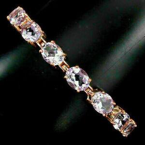Bracelet Purple Amethyst Genuine Gem Sterling Silver Rose Gold Plated 7 1/2 Inch