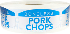 Boneless Pork Chops Grocery Stickers, 0.75 x 1.375 Inches, 500 Labels on a Roll