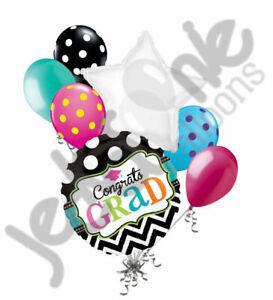 7 pc Dream Big Graduation Congratulations Grad Balloon Bouquet Congrats Chevron