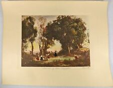 "Jean Baptiste Camille Corot Hand Colored & Signed Lithograph ""Dance of the Nymph"
