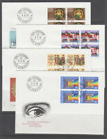 Switzerland Mi 1116/1141, 1978  issues, 5 cplt sets of blocks on 12 FDCs
