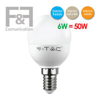 LAMPADINA LED E14 6W 40W MINI GLOBO SFERA LUCE BIANCA CALDA NATURALE V-TAC VTAC