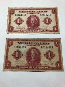 Netherlands 1 Gulden 1943 P-64 Circulated Lot of 2