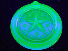 Blue Vaseline uranium glass Nautical Star Christmas ornament / sun catcher X-mas