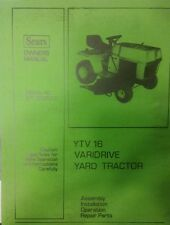 Sears YTV 16 Varidrive Yard Tractor Parts & Owners Manual 917.252933 Lawn Riding
