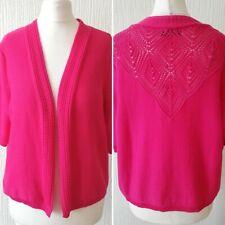 Bnwt Ladies Pink Short Sleeve Cardigan Shrug Bolero 14 New Summer Cerise