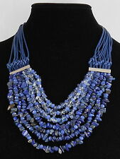 Kenneth Cole New York Silvertone BLUE MOOD Multi Layer Cord Chip Bead Necklace