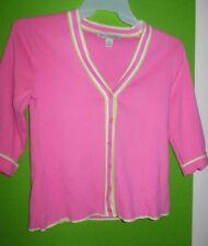 David Brooks Hot Pink Lime Green Trim Cardigan Sweater Medium