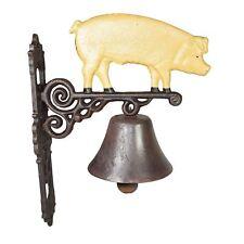 Pig Bell Farm Cast Iron Sign Plaque Door Wall Fence Gate House Garage Porch