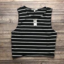 Express One Eleven Womens Black White Stripe Sleeveless Tank Crop Top Shirt L