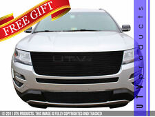 GTG 2016 2017 Ford Explorer 3PC Gloss Black Replacement Billet Grille Grill Kit