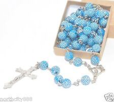 Blue Rosary Necklace Madonna center shamballa beads long necklace silver cross