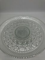 Vintage Windsor Clear Glass Cake Stand By  Federal Glass * Button And Cane