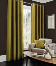 Luxury Curtains Living Room Bedroom All Size Plain Faux Silk Eyelet Door