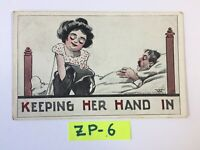 C.1912 Keeping her Hand In, Woman reaching in pocket OLD Vintage Postcard ZP-6