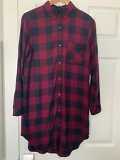 Rails Bianca Flannel Plaid Shirtdress Small Burgundy Red Tunic Button Down Dress