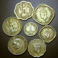 BRITISH INDIA - OLD INDIA - ANCIENT INDIA- BRASS COINS COLLECTIBLE SET - 7 COINS