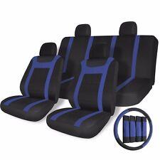 17pc Black Blue Car Seat Covers Set for Auto w/Steering Wheel/Belt Pad/Head Rest