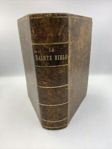 La Sainte Bible Protestante Version Ostervald Reliure cuir,1863,livre Ancien