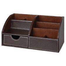 Osco Faux Leather Desk Organiser - Brown