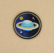 Saturn Space UFO  Iron on Sew on Embroidered Patch Badge Motif  For Clothing