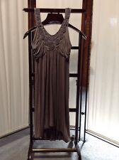 Soprano Pearl Embellished Bust Dress M Gray Gathered Spaghetti Straps Stretch